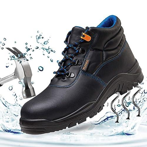 SUADEEX Mujer Hombre Zapatillas de Seguridad Botas con Puntera de Acero Impermeables Piel de Vacuno Zapatos de Trabajo Entrenador Unisex Zapatillas de ...
