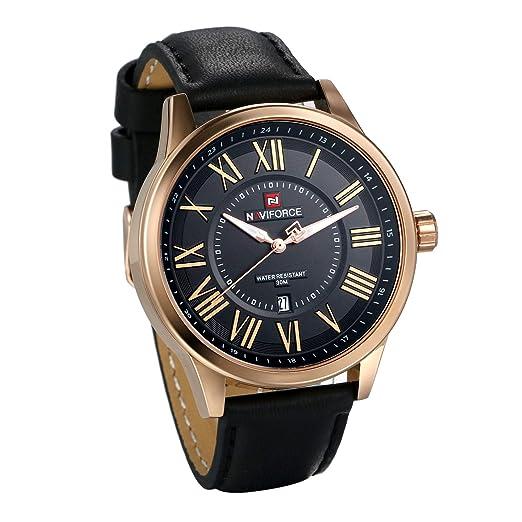 Reloj de pulsera deportivo analógico con números romanos de cuarzo japonés, resistente al agua, con fecha y esfera grande: Amazon.es: Relojes