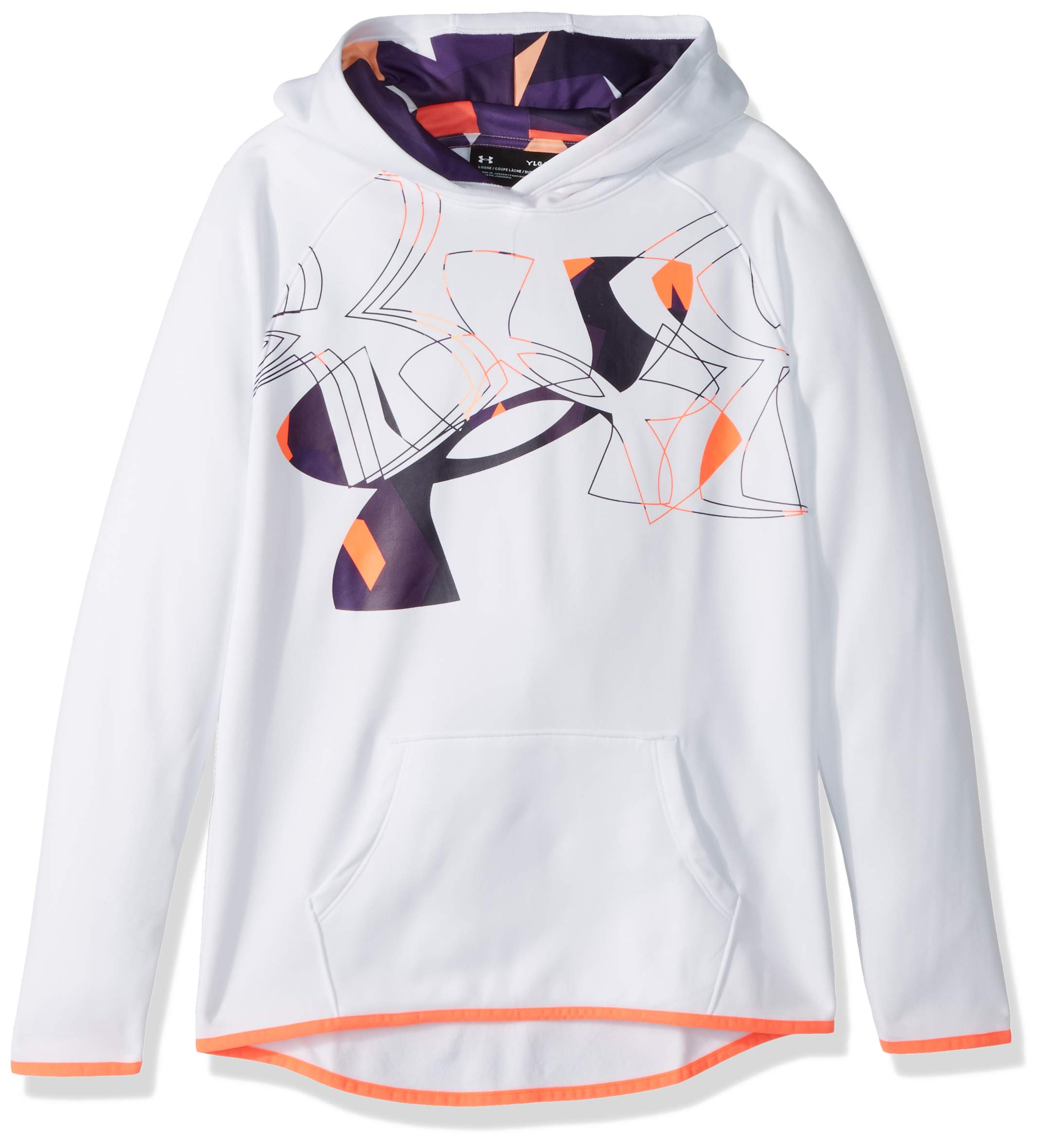 Under Armour Girls Armour Fleece Print Fill Logo Hoodie , White (100)/After Burn, Youth Small