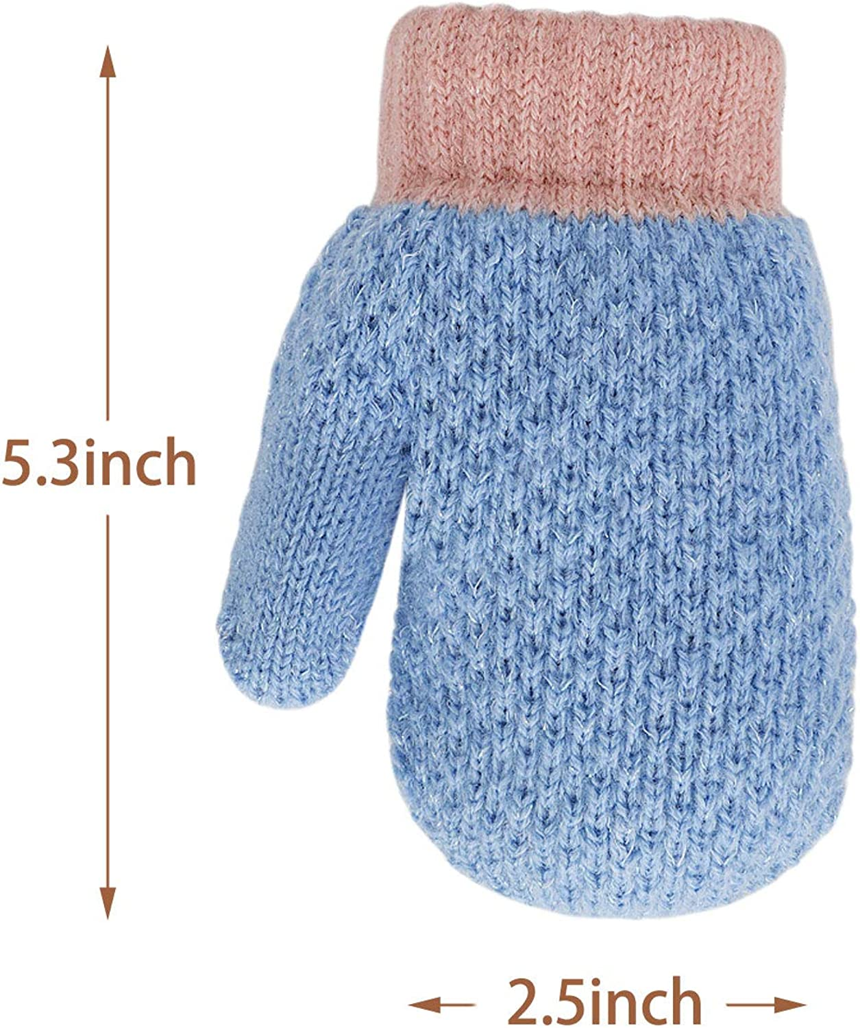 TAGVO Winter Toddler Mittens Gloves 3 Pairs Boys Girls Baby Gloves Sherpa Fleece Lined Thick Thermal Kids Knitted Mittens