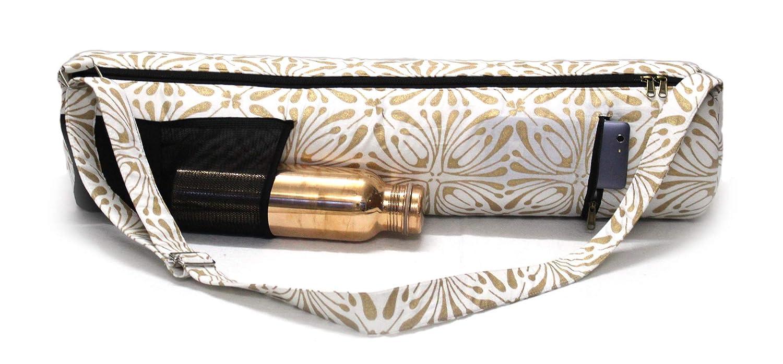 Popular Handicrafts Indian Exercise Yoga Mat Carry Bag Tote Carrier Full Zip with Shoulder Strap Bag Hippie Block Print Yoga Mat Bag Gold