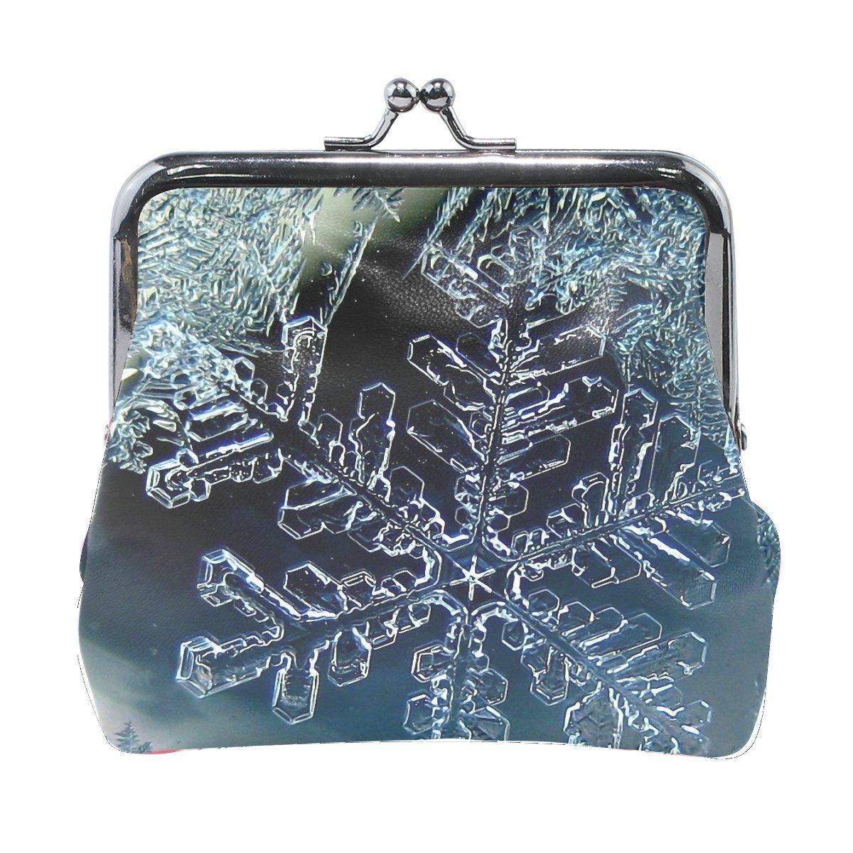 Women Snowflake Winter Macro Ice Print Wallet Exquisite Clasp Coin Purse Girls Clutch Handbag