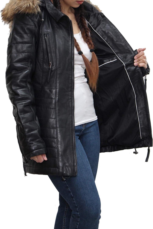 A to Z Leather Trench-Coat matelassé en Cuir Noir pour Femmes avec Capuche Amovible Noir