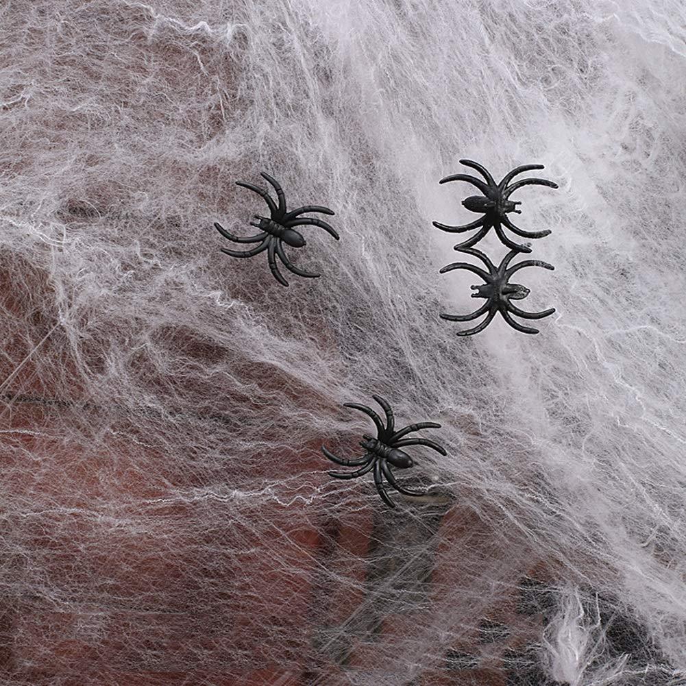 LCMJ WS Halloween Decoration Cotton Stretch Spider Webs Indoor & Outdoor Spider Webbing with 25 Fake Spiders 4m²