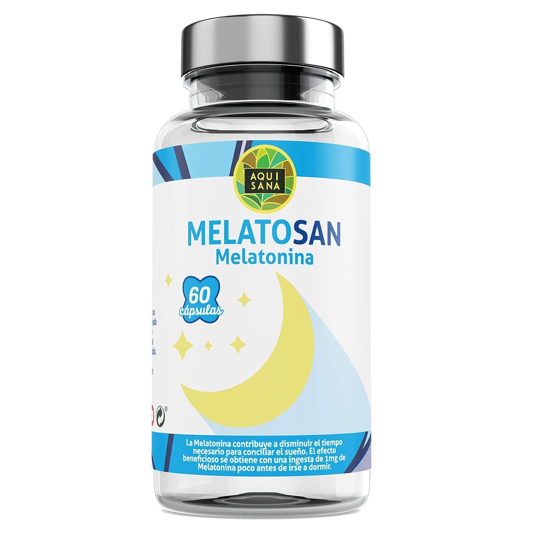Melatosan-Aquisana | Melatonina + Valeriana + Pasiflora + Melisa - - Relajante natural - Extractos de plantas para descansar - Libre de Alérgenos-(60 ...