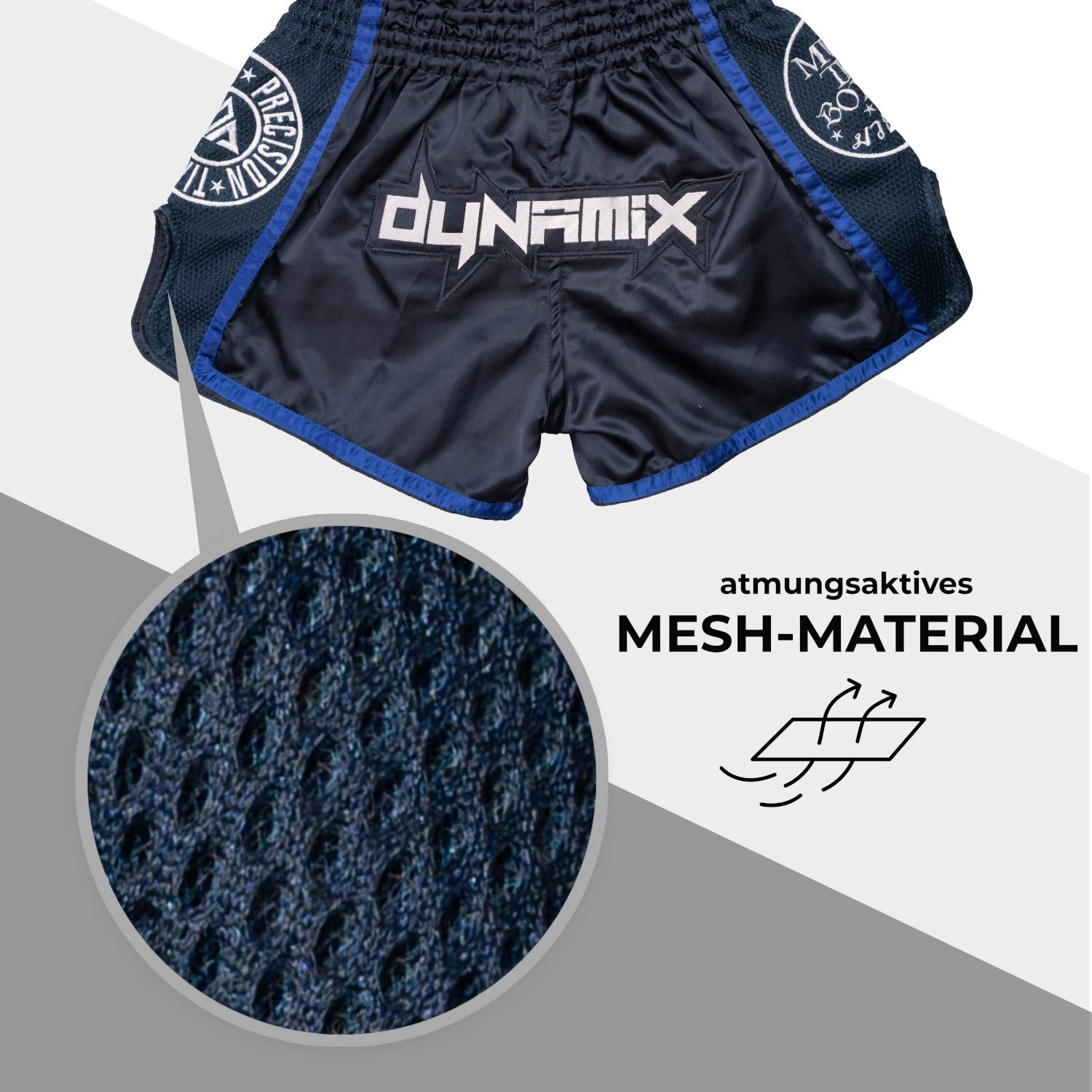 Blue traditional Thaiboxing Short for men with Air-Tech-Material Premium Thai Short for thaiboxing Dynamix Athletics Muay Thai Shorts WARPATH