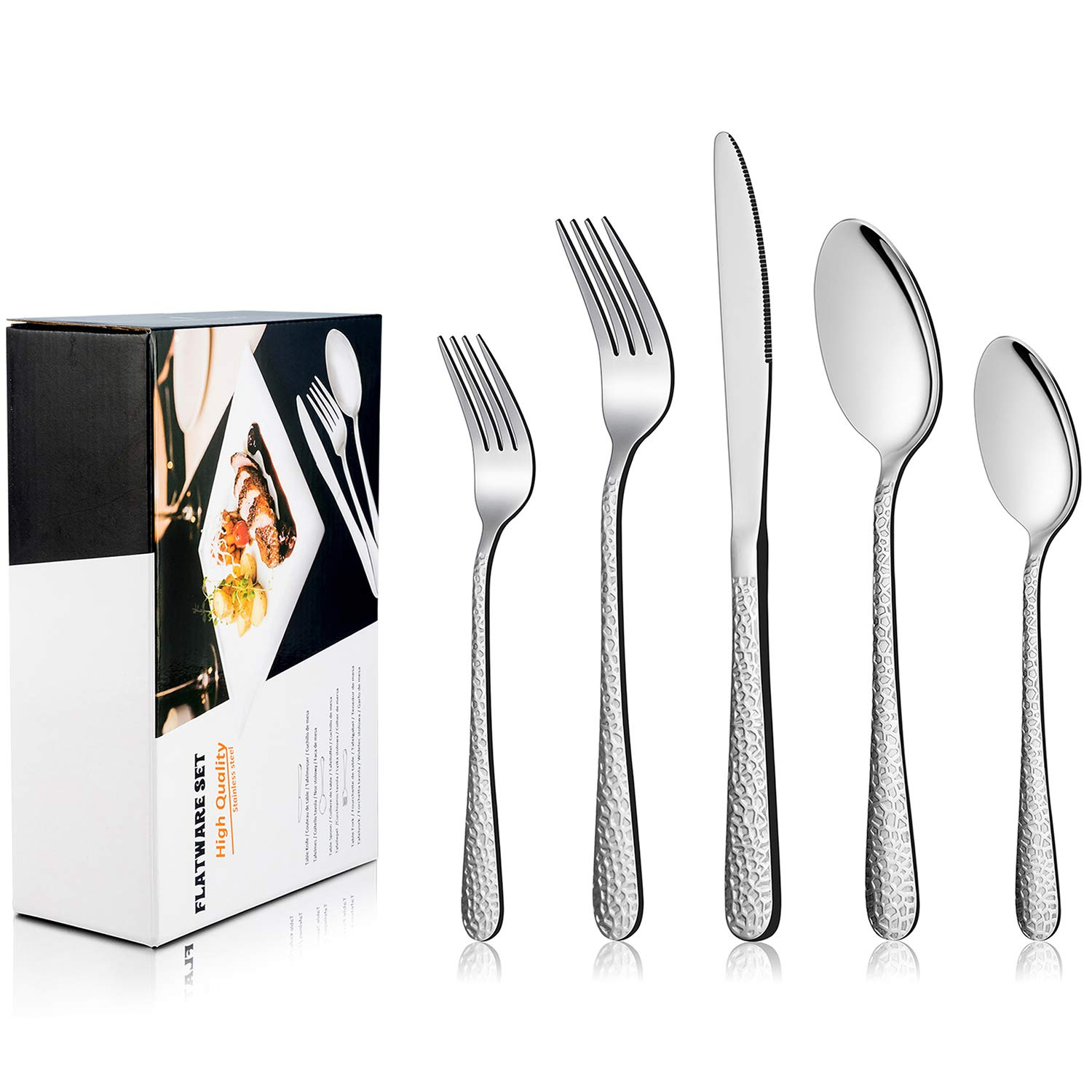 Hammered Silverware Set, LIANYU 40-Piece Stainless Steel Cutlery Flatware Set for 8, Tableware Eating Utensils, Mirror Finish, Dishwasher Safe by LIANYU (Image #7)
