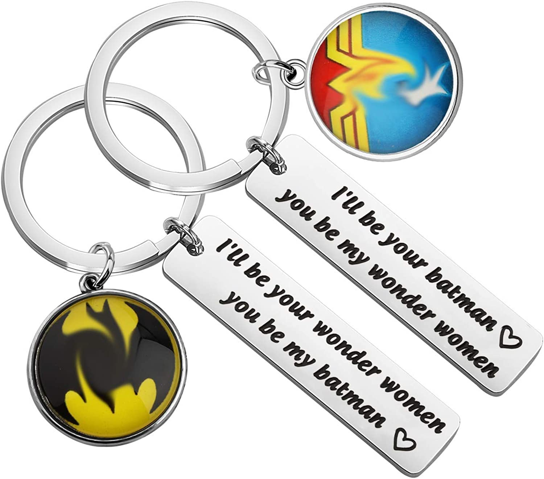 FAADBUK Couple Keychain Set DC Comics Inspired Gift Wonder Women Batman Gift Gift for Boyfriend Girlfriend