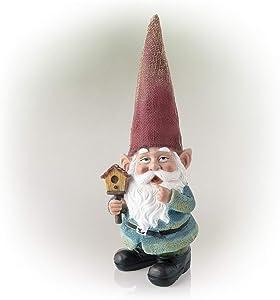 Alpine Corporation GDS114 Alpine Garden Gnome Holding a Birdhouse Outdoor Statue, Multicolor