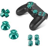 Supremery Playstation 4 Dualshock 4 aluminiumknappar kepsar tumpinnar reservdelar tillbehör för PS4 (Bullet green)