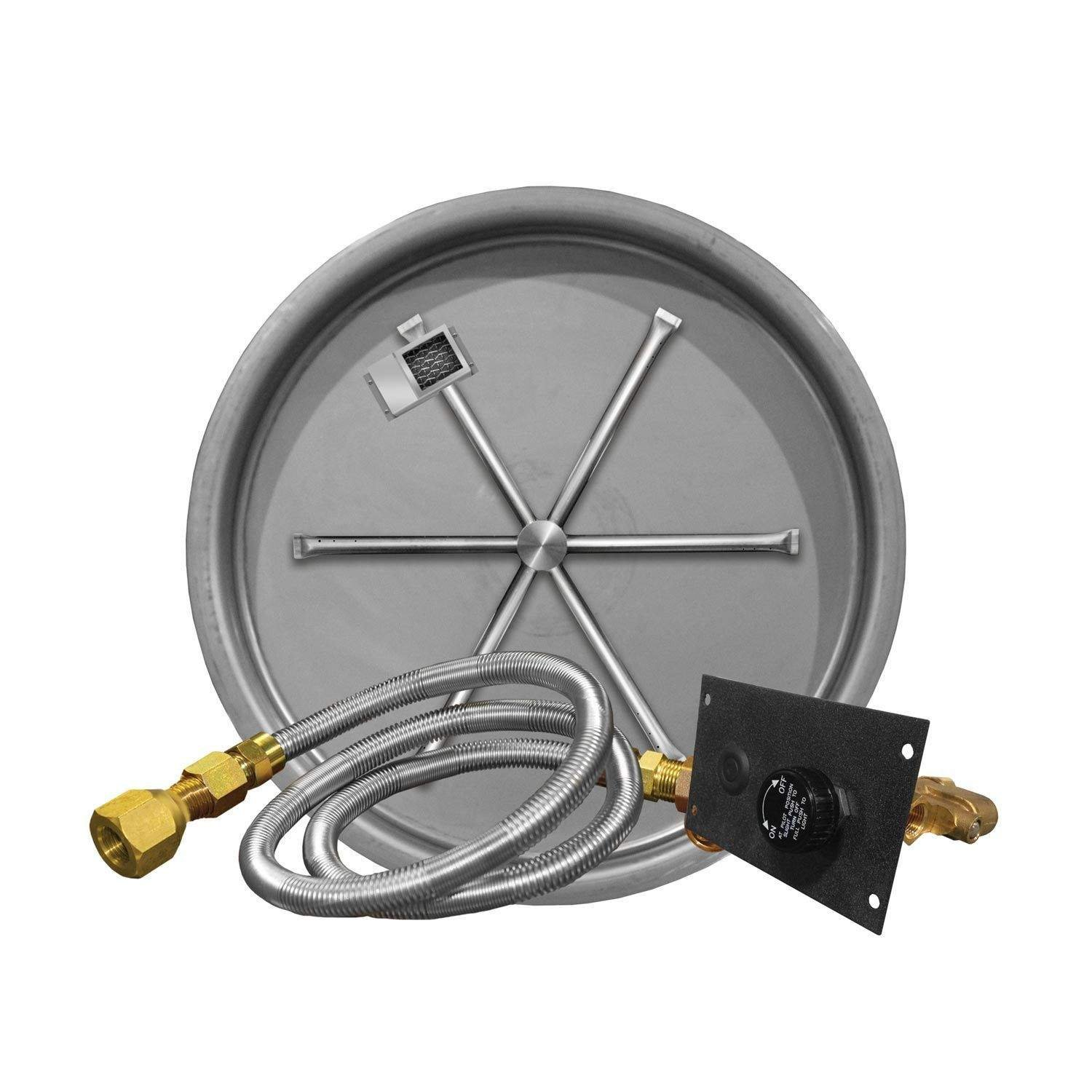 Firegear FPB-19RBSTMS-N UL Listed Match Light Gas Fire Pit Burner Kit with Flame Sensing, Round Bowl Pan, Natural Gas, 19-inch by Firegear