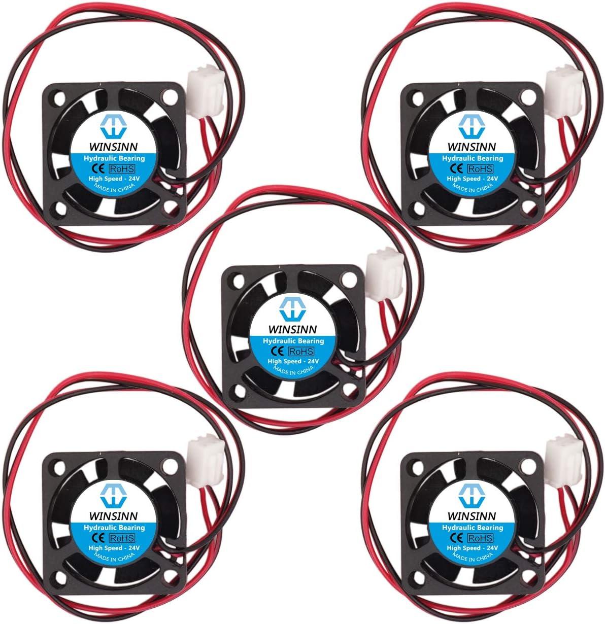 WINSINN Ventilador de 25 mm 24 V rodamientos hidráulicos sin escobillas 2510 25 x 10 mm para mini refrigeración PCB/notebook/tarjeta gráfica, alta velocidad (paquete de 5 unidades)