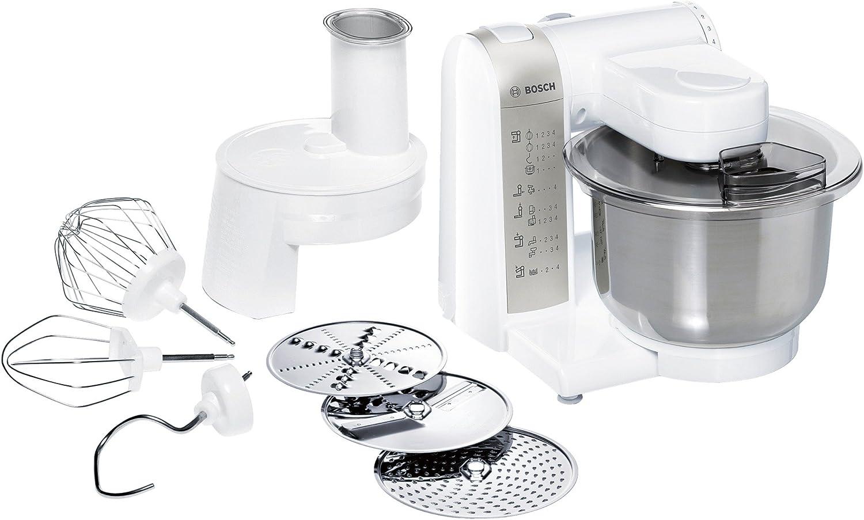 Bosch MUM48W1 600W 3.9L Acero inoxidable, Color blanco - Robot de cocina (3,9 L, Acero inoxidable, Blanco, 1,2 m, Acero inoxidable, 600 W, 600 W): Amazon.es: Hogar