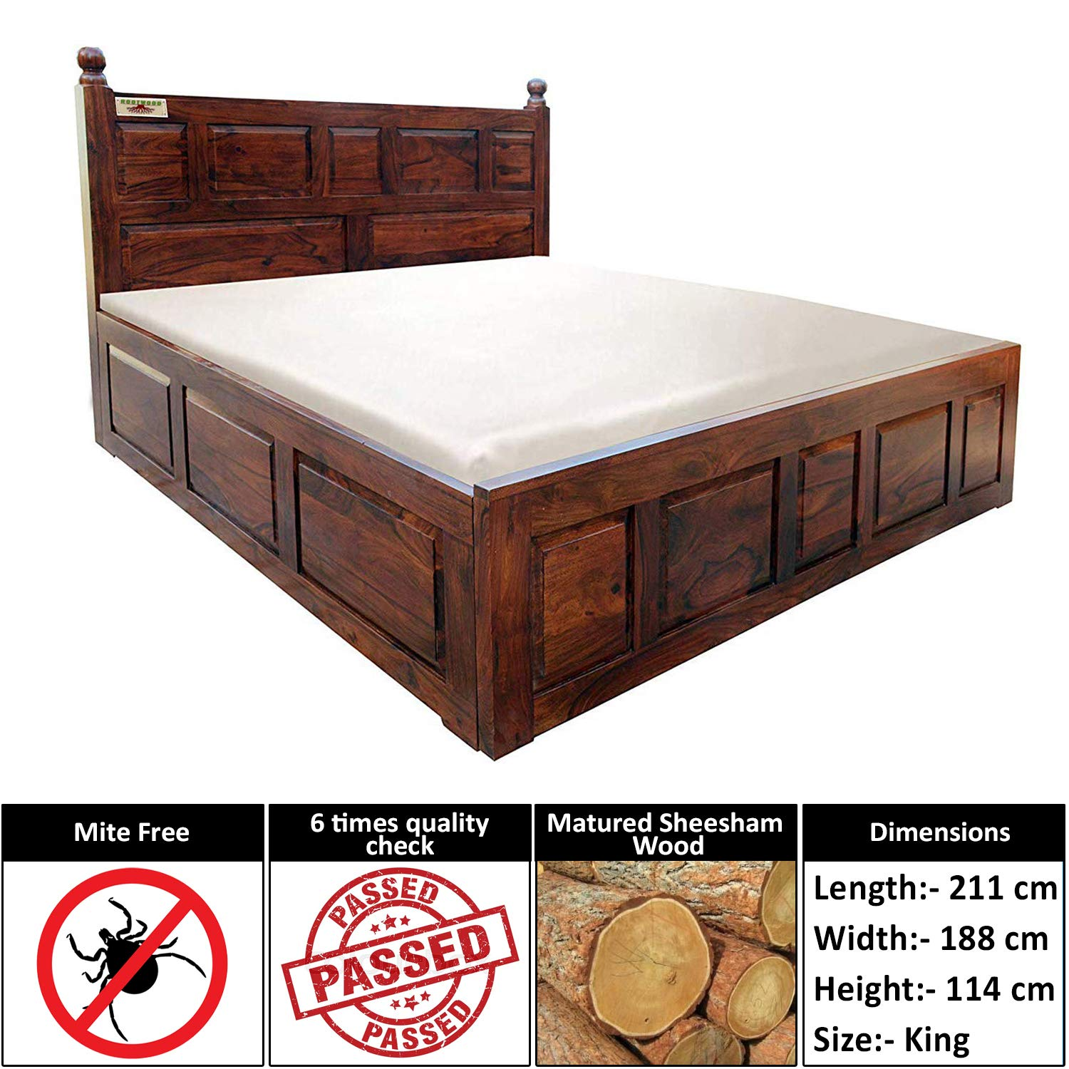 Rootwood King Size Solid Wood Bed with Box Storage (Sheesham