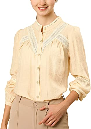 Allegra K Camisa con Botones Panel De Encaje Cuello Alto para Mujer: Amazon.es: Ropa y accesorios