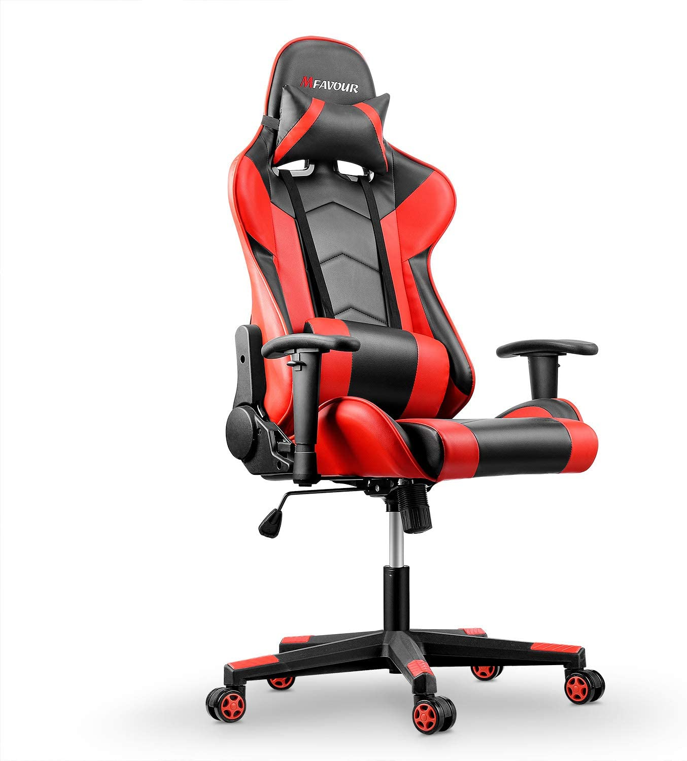 Mfavour Gaming Chair Pc Office Chair High Back Racing Style Executive Computer Gaming Office Chair With Adjustable Armrest And Tilt Funtion Red Amazon Co Uk Kitchen Home
