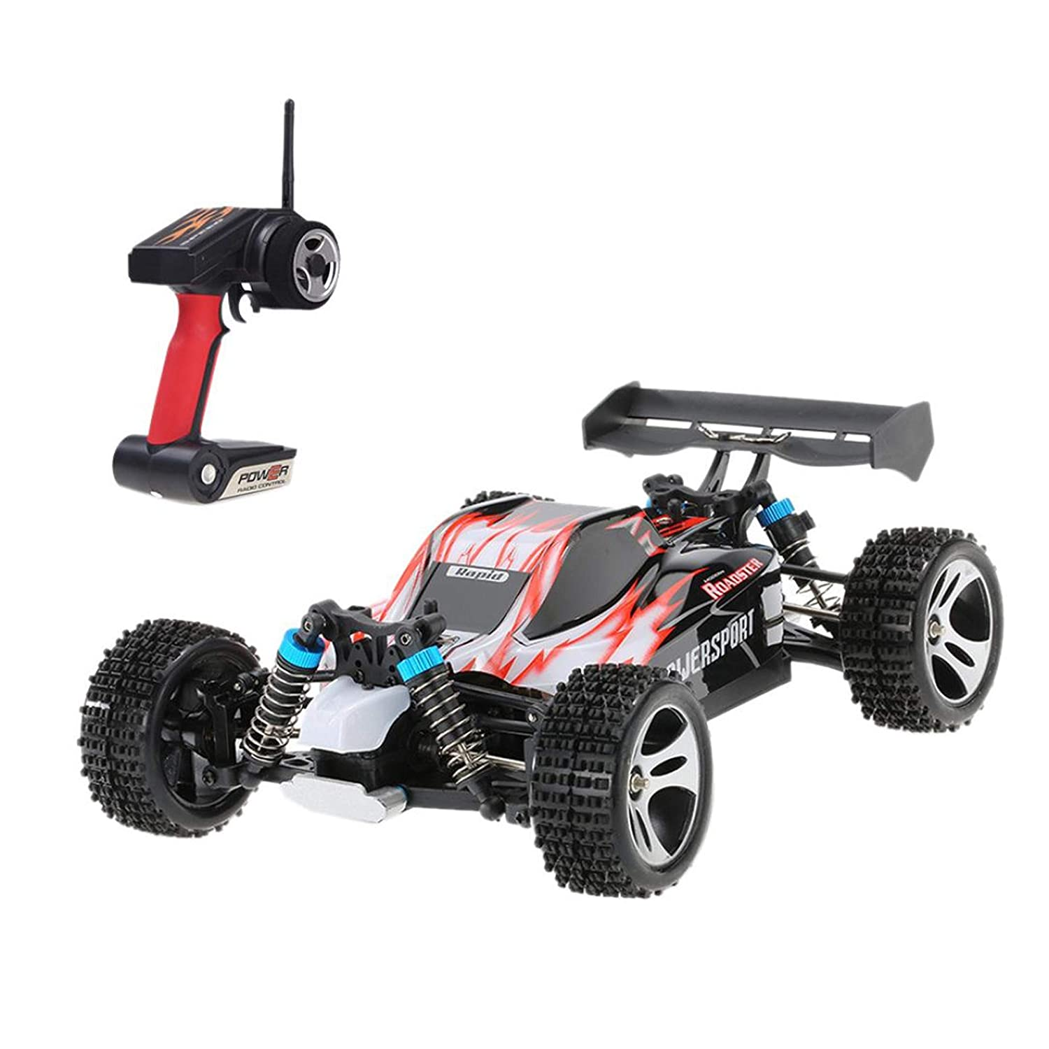 Happy Event WLtoys A959 Improved 4D 2.4G RC Car 540 Motor High Speed 50 km/STD 1: 18 Toy for Kids and Adults, Blue