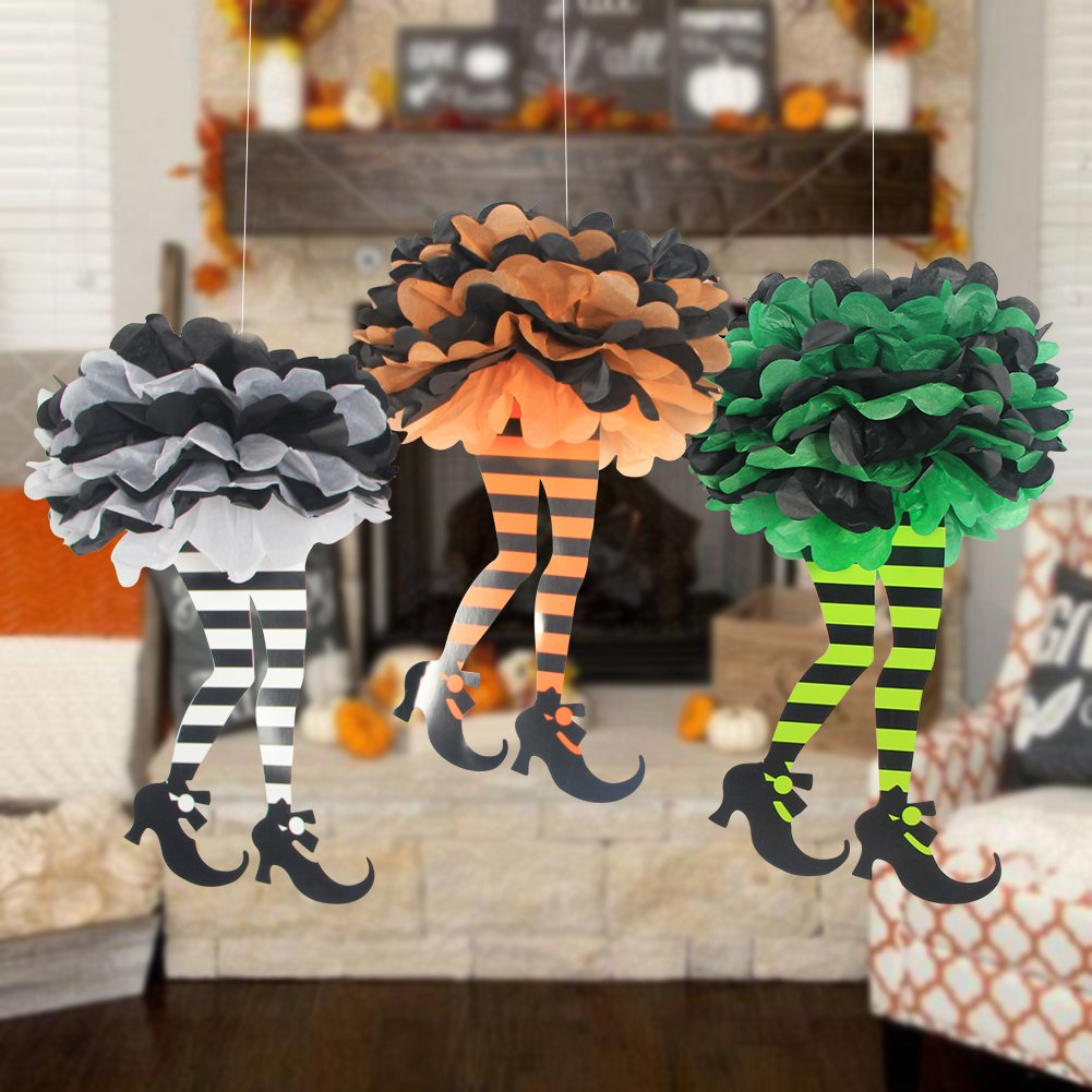 LTD Halloween Witchs Boot DIY Paper Pom Poms Flowers Halloween Party Hanging Decorations SUNBEAUTY 3Pieces Orange Green Grey Pingyang county Mei Chen paper plastic products co