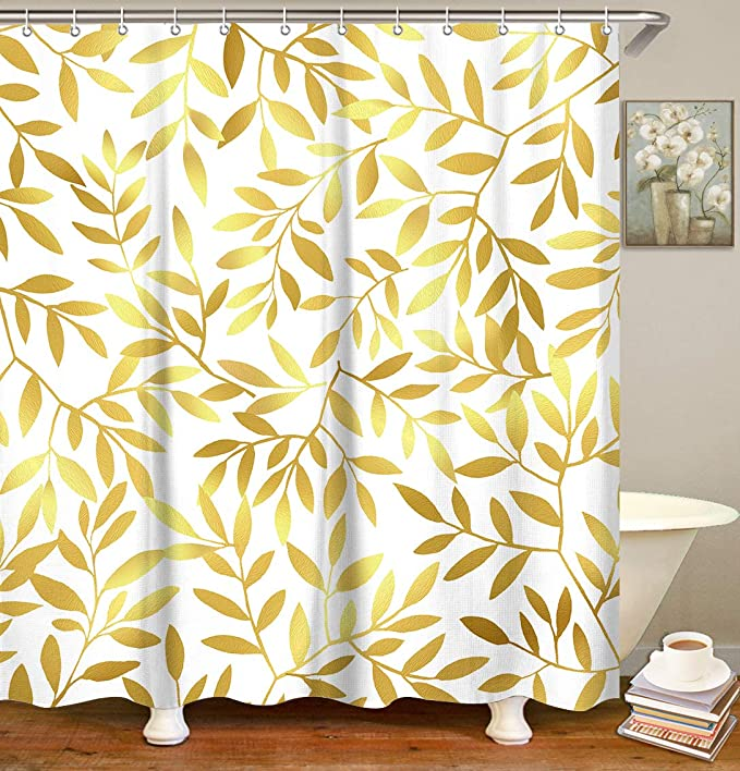 LIVILAN Branch Bathroom Curtain Set with 12 Hooks Black Tree Shower Curtain Fabric Bath Curtain Home Decoration 70.87 by 70.87