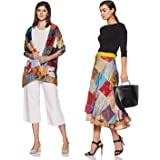 Vintage Handmade Patch Work Women Rapron Skirt with Scarf Wrap Assorted Silk Blend Sari Multi-Color Drawstring Multicolored (SKT514)