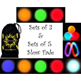 Flames N Games Pro LED Glow Juggling Balls (Slow Fade Rainbow Effect) Ultra Bright Battery Powered Glow LED Juggling Ball Sets with Travel Bag.