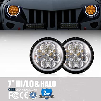Jeep Jk Headlights >> Amazon Com Jeep Wrangler Jk Headlights 7 Inch Amber Spider Halo Drl