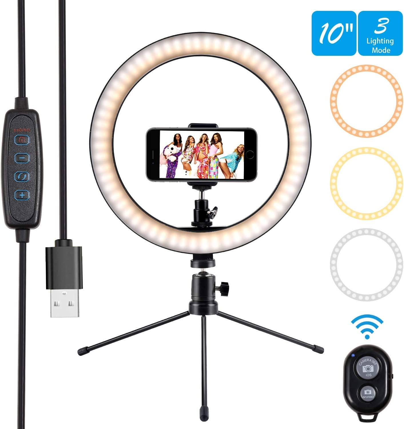 """10"""" Ring Light Selfie Light Ring with Tripod Stand & Cell Phone Holder and Remote Control 3000-5500K 120 Bulbs Dimmable Beauty Desktop Ringlight for YouTube Video/Live Stream/Makeup/Photography"""