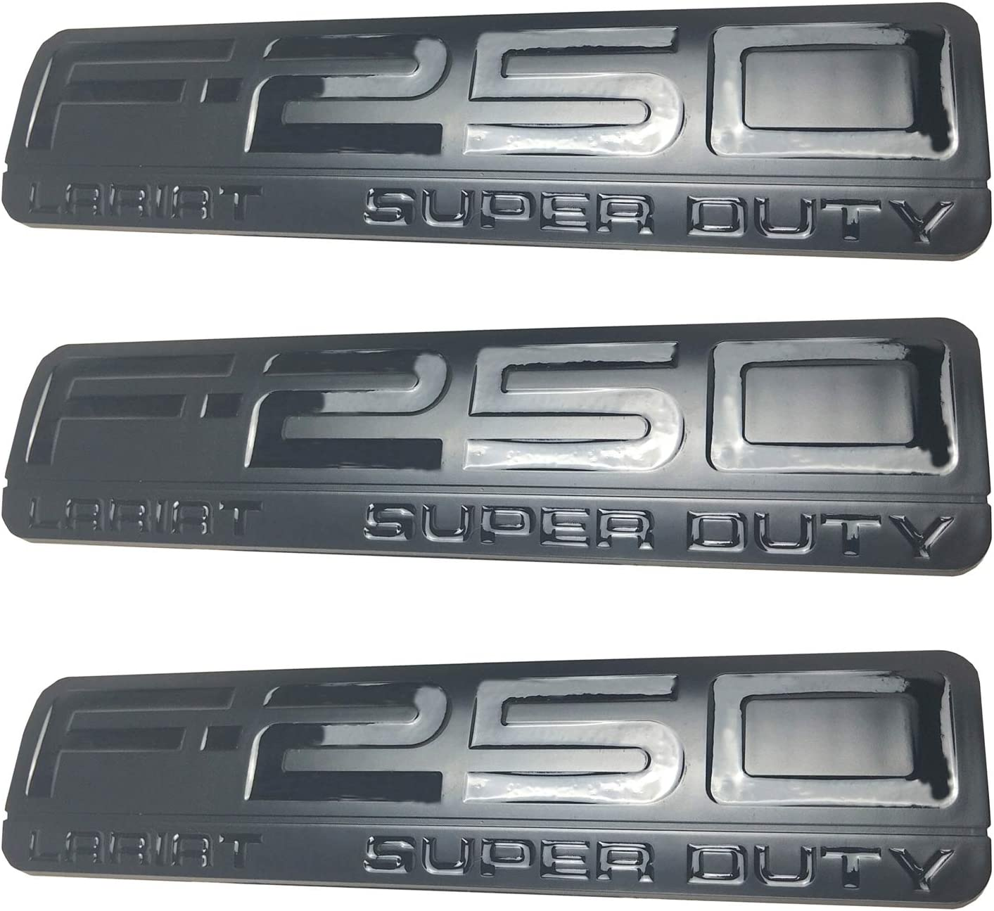 3pack New F-250 Lariat Super Duty Side Fender Emblems Badge 3D Logo Replacement for F250 Lariat Black Red