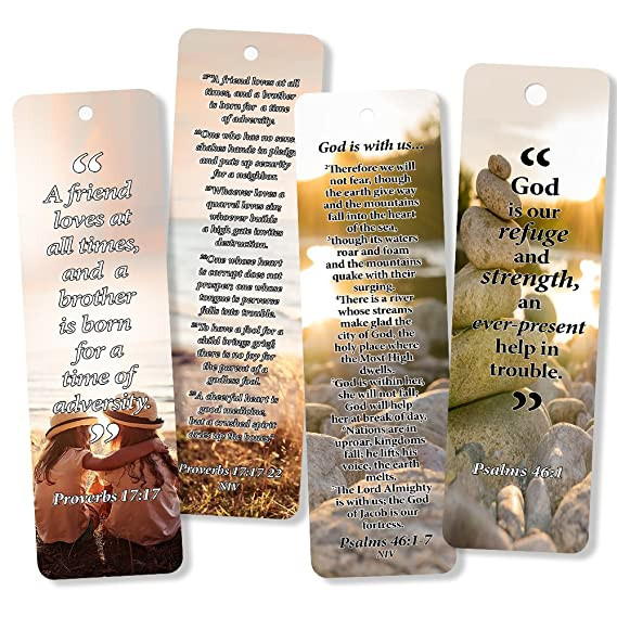 Christian Bookmarks Cards with Popular Inspirational Bible Verses 6 Unique Designs Pack of 60 Bible Scripture Prayer Cards War Room Décor