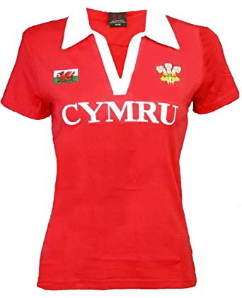 471a45fe32c LADIES WOMENS WELSH CYMRU CLASSIC RUGBY V COLLAR COTTON POLO T-SHIRT TOP:  Amazon.co.uk: Clothing