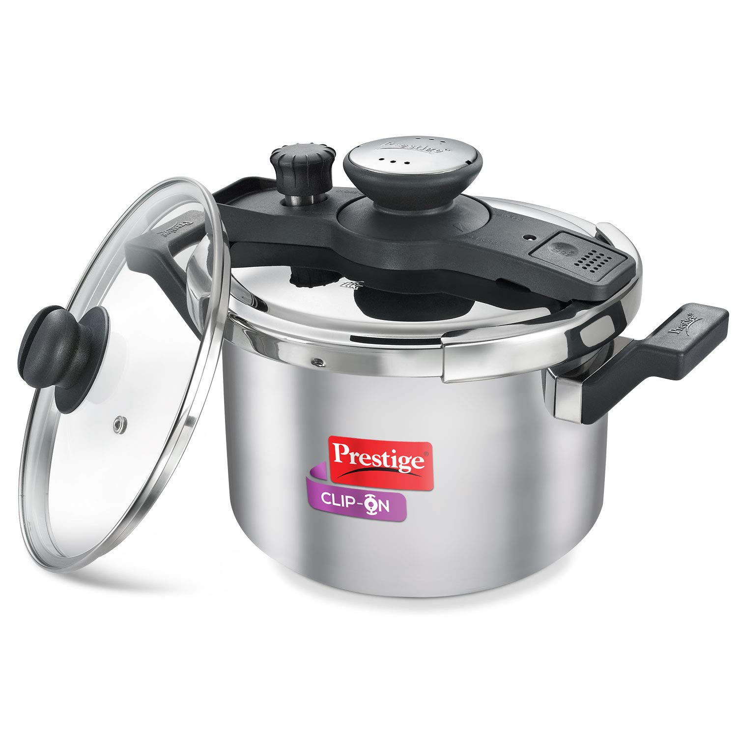 Prestige Clip-On Stainless Steel Pressure Cooker, Cook and Serve Pot with Extra Glass Lid, Large 5 Liters