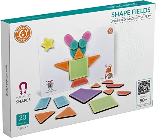 Butterfly EduFields Magnetic Shapes Puzzles Toys for Kids Boys & Girls -Pack of 23 Pieces | Educational Foam Toy Gift for Unlimited Imaginative Fun & Play for Baby, Made in India(Multi color)