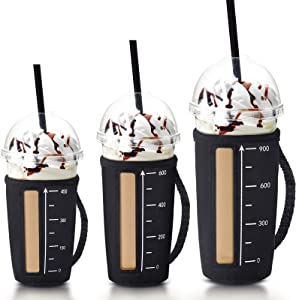 3 Pieces Reusable Coffee Beverage Sleeve Insulated Hot Drink Cup Holder Insulated Neoprene Cup Sleeve with Handles for Cold Hot Beverages Cups, Black (16-18 oz, 22-24 oz, 32 oz)