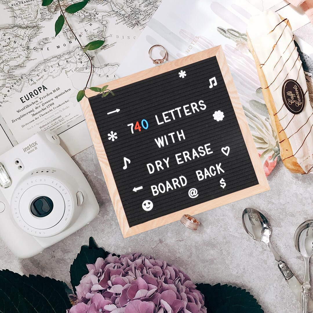 SPACECARE Black Felt Letter Board with Dry Erase Board Back, 720PCS Letters, Numbers & Symbols, 10x10 Inches Wall Mount Changeable Message Board Sign, Word Board, Letterboard