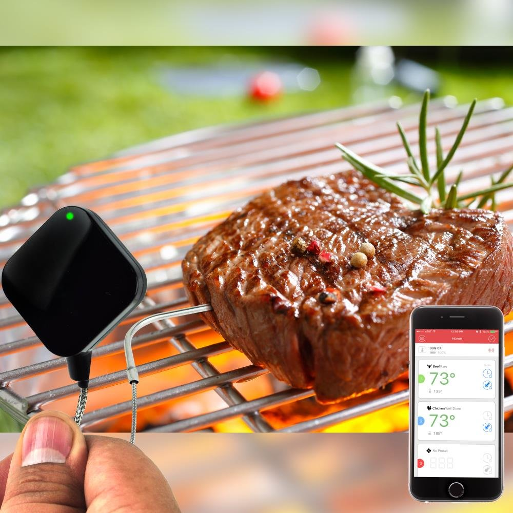 Smart Bluetooth BBQ Grill Thermometer - Upgraded Stainless Probe Safe to Leave in Oven, Outdoor Barbecue or Meat Smoker - Wireless Remote Alert iOS Android Phone WiFi App - NutriChef PWIRBBQ40 by NutriChef (Image #5)