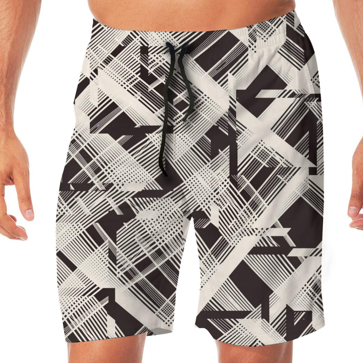Mens Swim Trunks Quick Dry Abstract Symbolism Lines Multi-Faceted Beach Board Shorts Swimming Short with Pockets