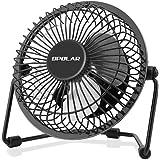 OPOLAR Desk Fan, Ultra Quite Metal Fan with Enhanced Airflow, 360° Rotating Free Adjustment Personal Cooling Office Desk Small Fan, USB Powered Mini Fan - 10CM Blades, One Setting-Black