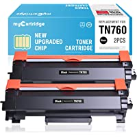 myCartridge Compatible Toner Cartridge Replacement for Brother TN760 TN-760 TN730 TN-730 (2 Black) with CHIP