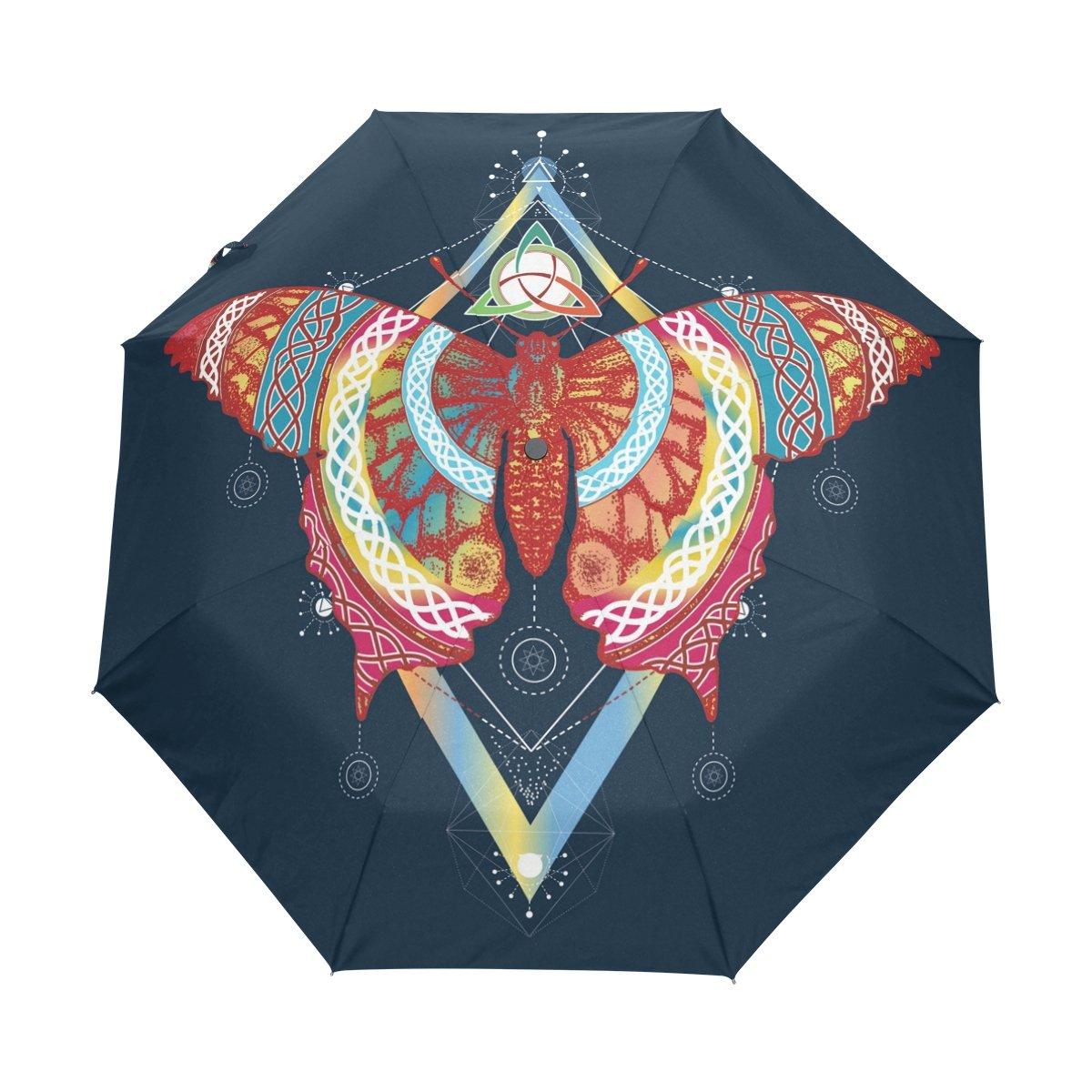Senya Saobao防風と防雨トラベル傘with自動開いて閉じFoldingバタフライポータブル折りたたみ式太陽雨傘 B07FF21Q91