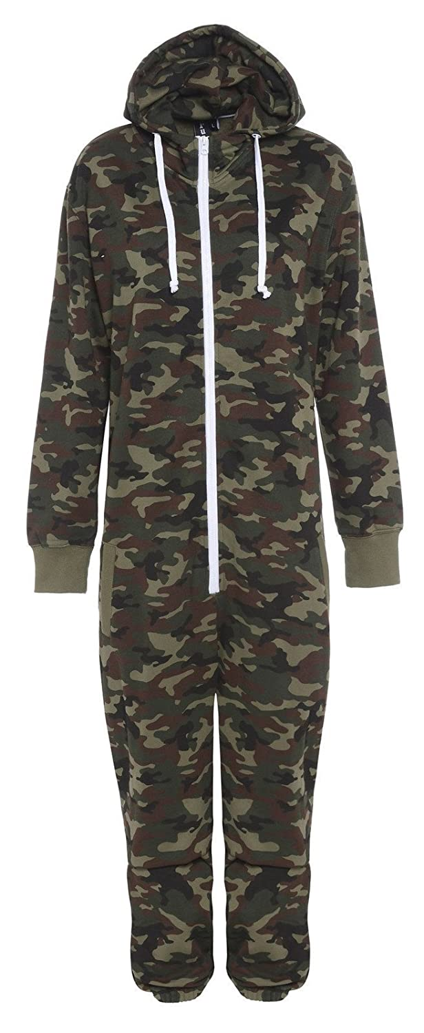 Kids Unisex Boys Girls Hooded Zip Up Onesie Playsuit All In One Piece Jumpsuit For Kids Age 7 8 9 10 11 12 13 (Age 11-12, Army) kid jmp army 11-12