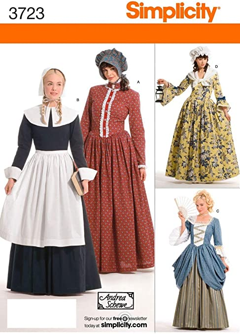 Simplicity Historical Dresses Sewing Pattern Costumes for Girls by Andrea Schewe Sizes 7-14