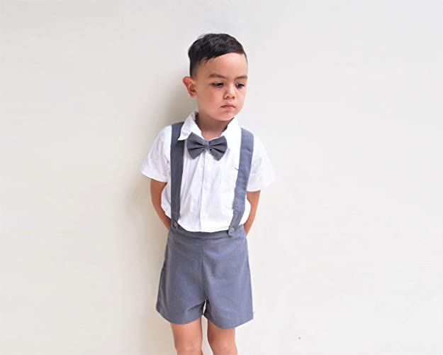 d2dcadebe 3pcs Boy Suspender Shorts Outfit - Charcoal grey, Boy Linen Suit,Linen Pants,  Boy Linen Shorts, Pageboy, Christening Outfit, Ring Bearer outfit, ...