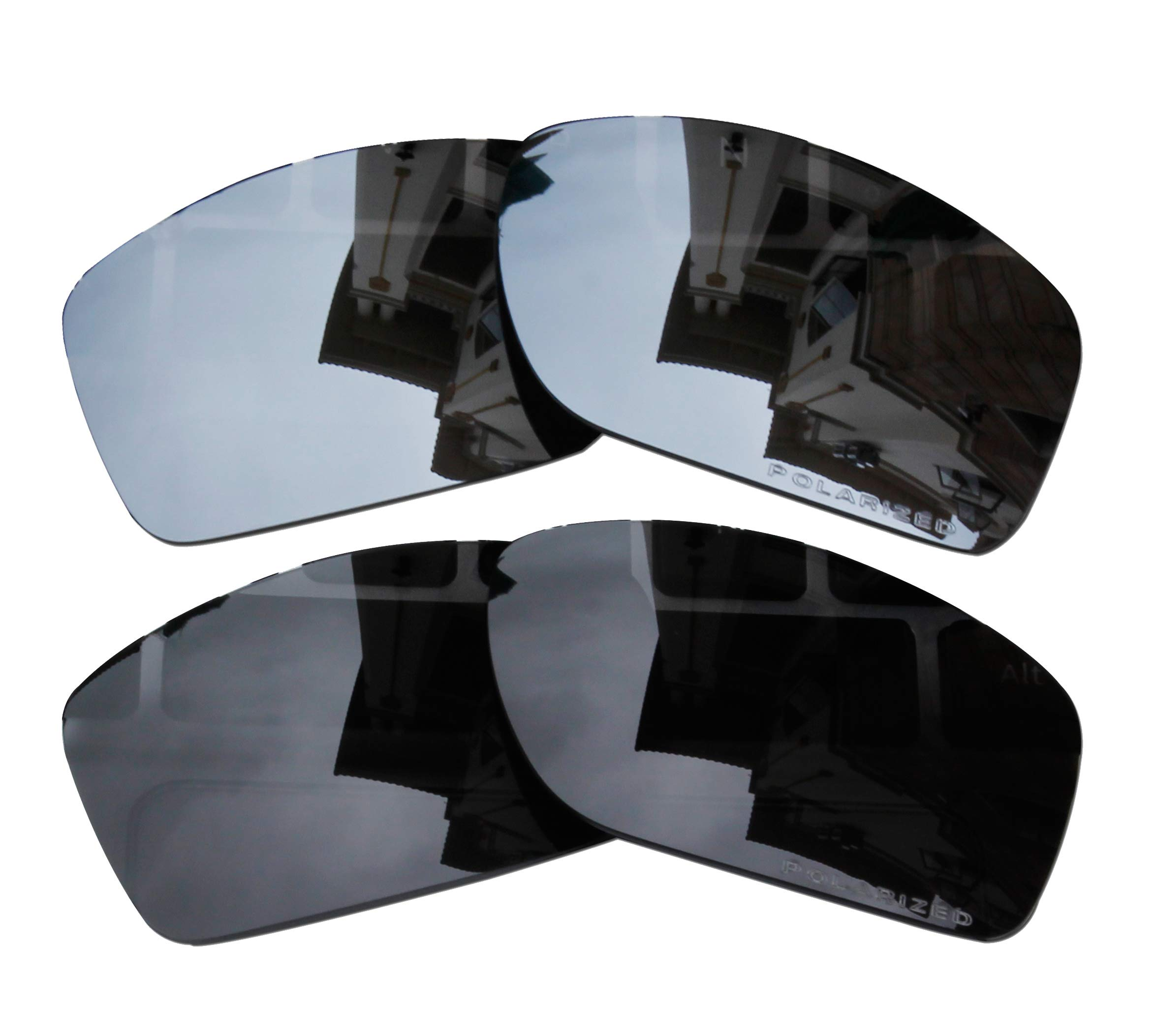 2 Pairs Lenses Replacement Polarized Black & Black Mirror for Oakley Canteen 2014 (Canteen New) OO9225 Sunglasses