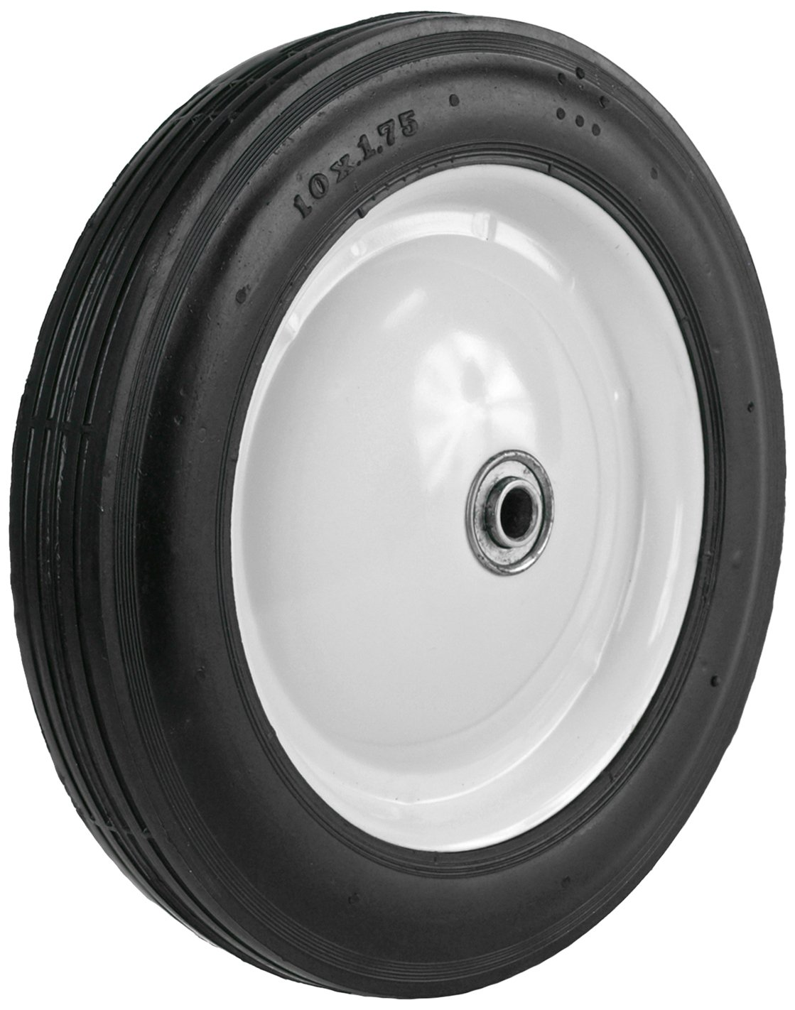 Martin Wheel 110-OF 10 by 1.75-Inch Light Duty Steel Wheel for Lawn Mower, 1/2-Inch Ball Bearing, 1-5/8-Inch Offset Hub, Rib Tread