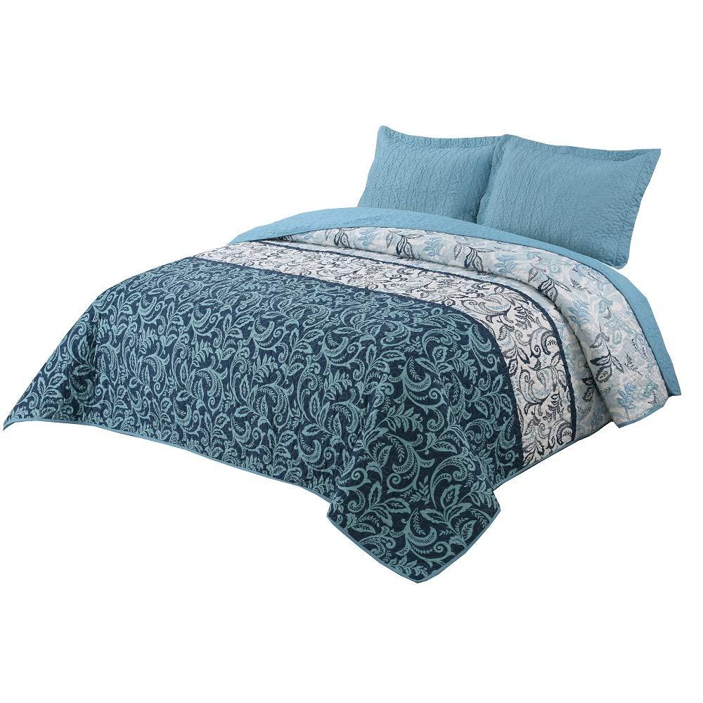 vivinna home textile Green Quilt King Size Bed Sets -3pcs Summer Bedspread -Design Foliage Blanket (King:106''x96'', Vietnam Green)