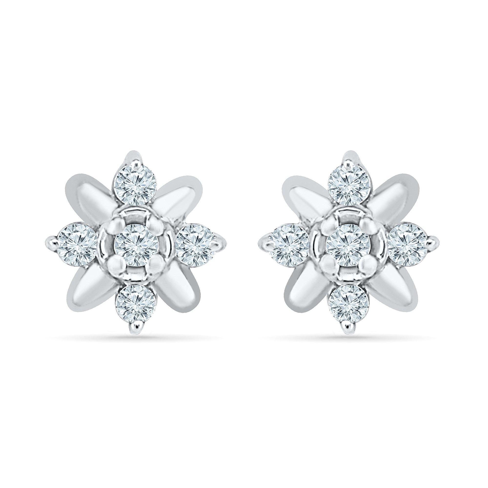 Flower Earrings For Women In 10K White Gold And Diamonds (0.10 CTTW)