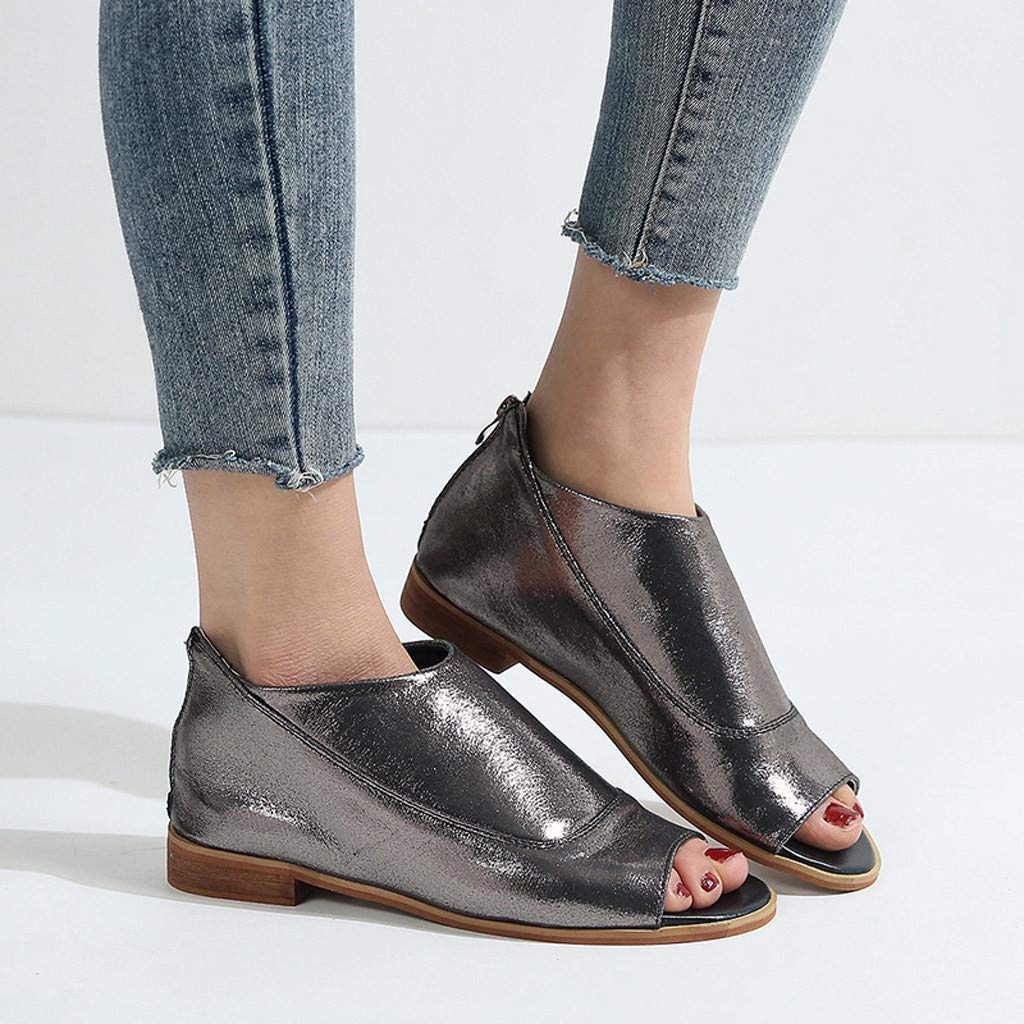Women 2019 Summer New Sandals,Women Rome Suqare Heel Zipper Peep Toe Shoes Casual Breathable Beach Sandals