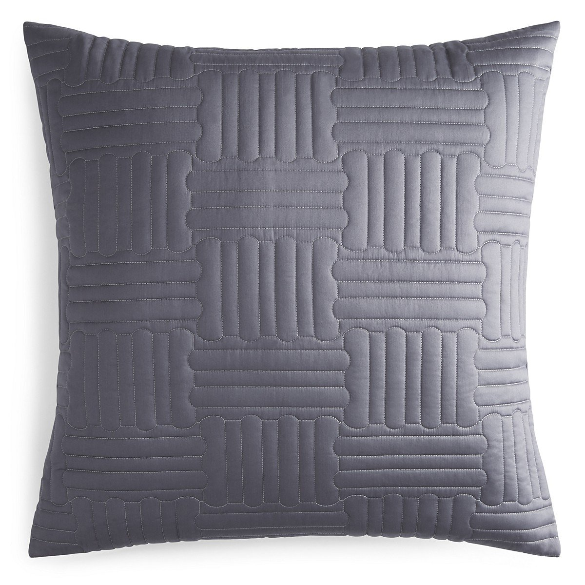 Pratesi Hotel Sweet Hotel Up and Down Cotton Quilted Euro Decorative Pillow Grey Made In Italy