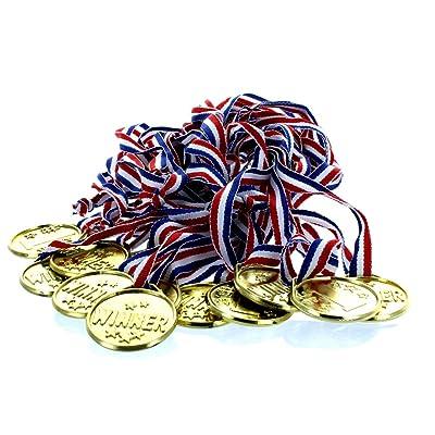 Fun Express Gold Tone Winner Award Medals - 12 Pieces: Toys & Games