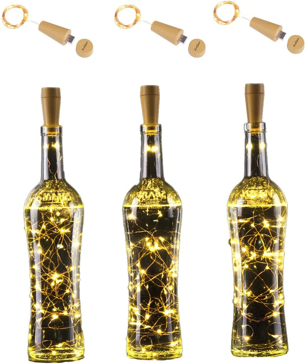 Rechargeable Wine Bottle String Lights , AnSaw 3 Pack USB Powered 20LED Bottle Cork Lights Starry Fairy Home Twinkle Cork Shape Decor Lights for Party , Christmas, Halloween ,Wedding (Warm White)